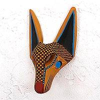Wood mask, 'Intricate Coyote' - Hand-Painted Copal Wood Coyote Mask from Mexico