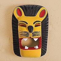 Wood mask, 'Friendly Lion' - Handcrafted Copal Wood Lion Mask from Mexico
