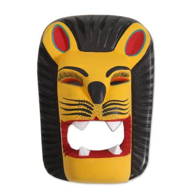 Handcrafted Copal Wood Lion Mask from Mexico
