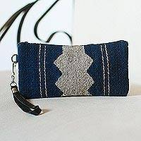 Wool wristlet, 'Midnight Wave' - Handwoven Wool Wristlet in Midnight and Grey from Mexico