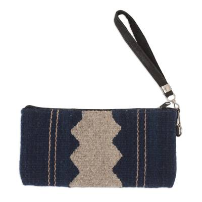 Handwoven Wool Wristlet in Midnight and Grey from Mexico