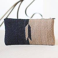 Wool cosmetics bag, 'Fret Reflections' - Navy and Taupe Color-Blocked Handwoven Wool Cosmetics Case