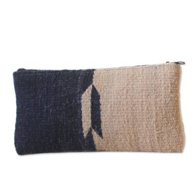 Navy and Taupe Color-Blocked Handwoven Wool Cosmetics Case