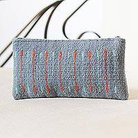 Wool cosmetics bag, 'Attention' - Azure and Orange Line Motif Handwoven Wool Cosmetics Case