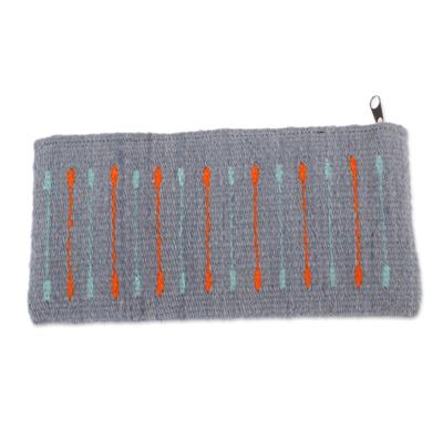 Azure and Orange Line Motif Handwoven Wool Cosmetics Case