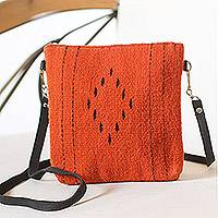 Wool shoulder bag, 'Stop Traffic' - Vermilion and Black Handwoven Wool Convertible Shoulder Bag