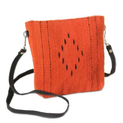Wool sling, 'Stop Traffic' - Vermilion and Black Handwoven Wool Convertible Shoulder Bag