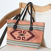 Wool tote bag, 'Fret Fashion' - Pink and Dark Red Fret Motif Handwoven Wool Tote Bag