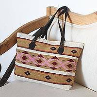 Leather accented wool tote, 'Jubilant Geometrics' - Multi-Color Geometric Motif Handwoven Wool Tote Bag