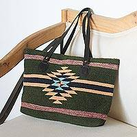Leather-accented wool tote, 'Fractured Sunlight' - Dark Green and Orange Fret Motif Handwoven Wool Tote Bag