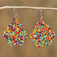 Glass beaded dangle earrings, 'Huichol Color' - Multicolored Glass Beaded Dangle Earrings from Mexico