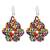 Glass beaded dangle earrings, 'Huichol Color' - Multicolored Glass Beaded Dangle Earrings from Mexico thumbail