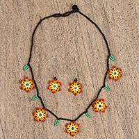 Glass beaded jewelry set, 'Fiery Bloom' - Fiery Glass Beaded Huichol Jewelry Set from Mexico