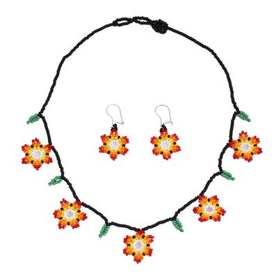 Glass beaded jewelry set, 'Fiery Bloom' - Fiery Glass Beaded Huichol Jewelry Set from Mexico