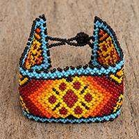 Glass beaded wristband bracelet, 'Huichol Fire' - Fiery Glass Beaded Wristband Bracelet from Mexico