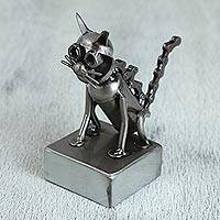 Upcycled metal auto part sculpture, 'Sitting Cat' - Upcycled Metal Auto Part Cat Sculpture from Mexico