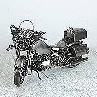 Upcycled metal auto part sculpture, 'Comfy Motorcycle' - Upcycled Metal Auto Part Motorcycle Sculpture from Mexico