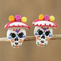 Porcelain button earrings, 'Chiapas Skulls' - Porcelain Catrina Skull Button Earrings from Mexico