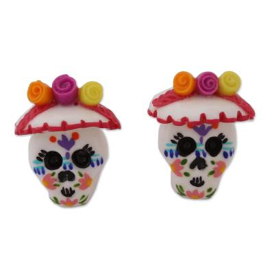 Porcelain Catrina Skull Button Earrings from Mexico