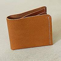 Men's leather wallet, 'Essentials' - Handcrafted Men's Light Brown Pigskin Leather Bi-Fold Wallet