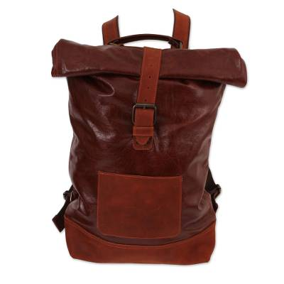Brown Leather Roll-Top Traveler