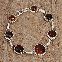 Amber link bracelet, 'Beauty Preserved' - Circular Amber Link Bracelet from Mexico
