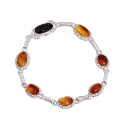 Oval Natural Amber Link Bracelet from Mexico