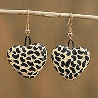 Ceramic dangle earrings, 'Balam Spots' - Jaguar Spot Heart-Shaped Ceramic Earrings from Mexico