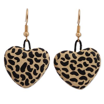 Jaguar Spot Heart-Shaped Ceramic Earrings from Mexico