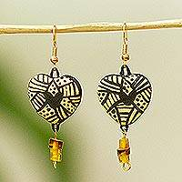 Ceramic dangle earrings, 'Balam Style' - Heart-Shaped Ceramic Dangle Earrings from Mexico
