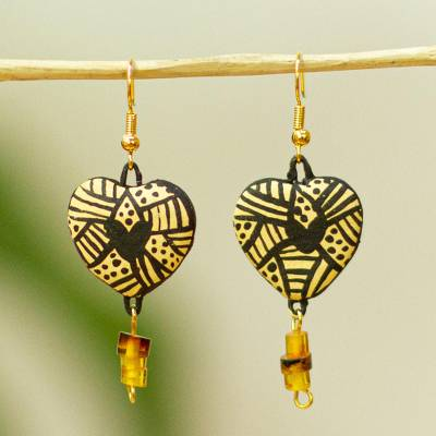 Heart Shaped Ceramic Dangle Earrings From Mexico Balam