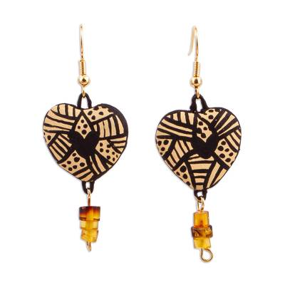 Heart-Shaped Ceramic Dangle Earrings from Mexico