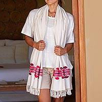 Cotton shawl, 'Sweet Spring' - Handwoven Cotton Shawl in Alabaster from Mexico