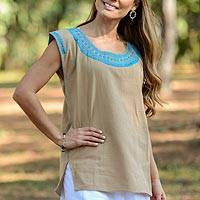 Cotton blouse, 'Mexican Style' - Cotton Blouse in Taupe and Turquoise from Mexico