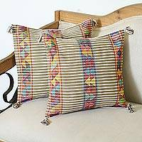 Cotton cushion covers, 'Triangle Stripes in Brown' (pair) - Striped Geometric Cotton Cushion Covers in Brown (Pair)