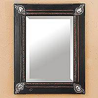 Fine silver and copper mirror, 'Mexican Handicraft' - Copper Repousse and Fine Silver and Bevel Edge Wall Mirror