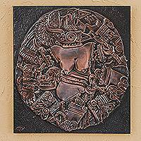 Copper and wood relief panel, 'Coyolxauqui' - Copper and Wood Relief Panel of a Mexican Goddess