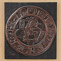 Copper and wood relief panel, 'Chinkultic' - Pre-Columbian Motif Copper and Wood Relief Panel from Mexico