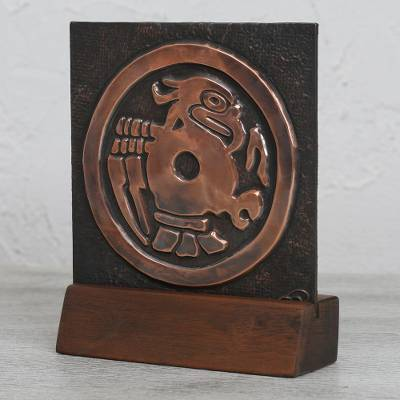 Copper and wood relief panel, 'Pre-Columbian Eagle' - Eagle Motif Copper and Wood Relief Panel from Mexico