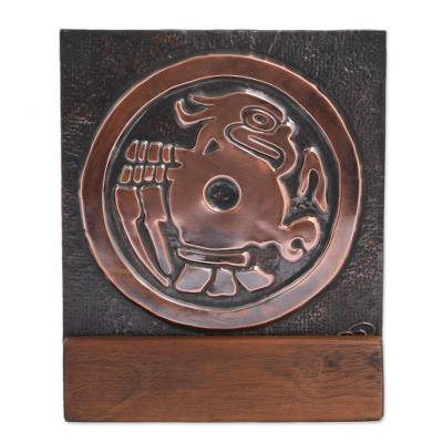 Eagle Motif Copper and Wood Relief Panel from Mexico