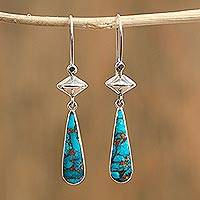 Amazonite dangle earrings, 'River Gleam' - Composite Amazonite Dangle Earrings from Mexico