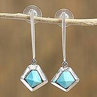 Featured review for Turquoise dangle earrings, Blue Geometry