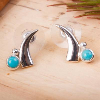 Turquoise button earrings, 'Artistic Crescents' - Crescent Turquoise Button Earrings from Mexico