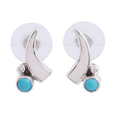 Crescent Turquoise Button Earrings from Mexico