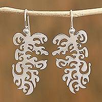 Sterling silver dangle earrings, 'Taxco Inlet' - Intricate Sterling Silver Dangle Earrings from Mexico