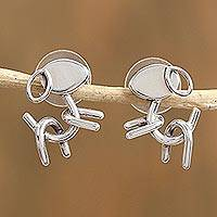 Sterling silver button earrings, 'Taxco Puppies' - Taxco Sterling Silver Puppy Button Earrings from Mexico