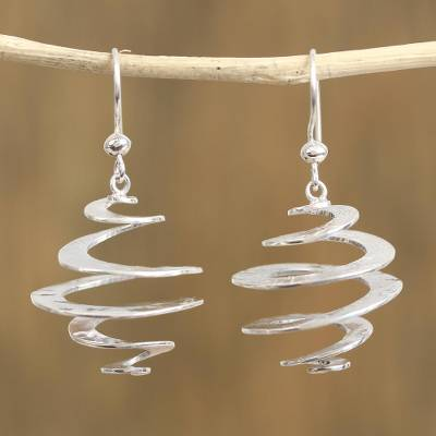 Sterling silver dangle earrings, 'Taxco Whirlwind' - Spiral-Shaped Sterling Silver Dangle Earrings from Mexico