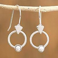 Sterling silver dangle earrings, 'Around the Drop' - Drop-Shaped Sterling Silver Dangle Earrings from Mexico
