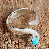 Turquoise wrap ring, 'Taxco Swirl' - Swirling Turquoise Wrap Ring from Mexico