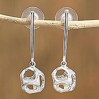 Sterling silver dangle earrings, 'Form of Fortune' - Modern Geometric Sterling Silver Mexican Dangle Earrings